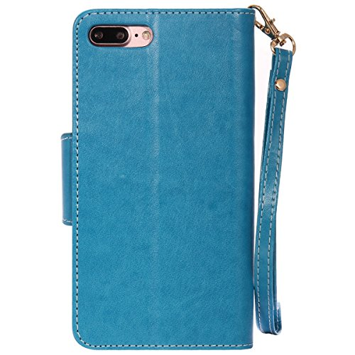Felfy Hülle für iPhone 7 Plus 5.5 Zoll,iPhone 7 Plus Case,iPhone 7 Plus Ledertasche Case Flip Mappen Kasten 3D Stilvolle Kreative Frau und Katze Design Muster Luxe Case Tasche Geldbeutel PU Leder Book Blau