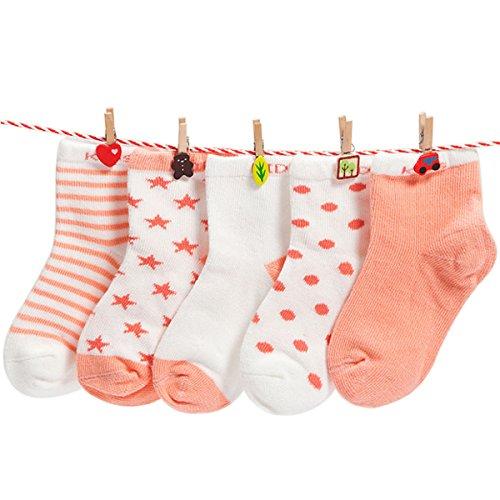 Happy Cherry Baby Mädchen 5 Paar Baumwolle Socken, Süße Kaninchen Muster Kleinkind Socken Weich Warm Babysocken in verschiedenen Mustern(0-1 Jahre Alt)