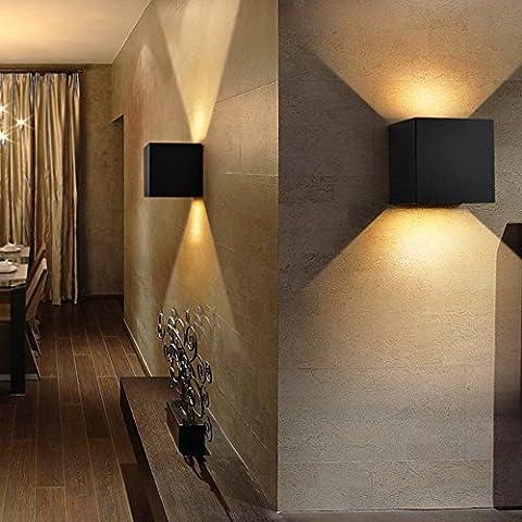 K-Bright 7W Appliques Murales LED, Interieur Exterieur Vers le Haut Vers le Bas Réglable éclairage Aluminium Lumières,3200K Blanc chaud,IP65 imperméable à l