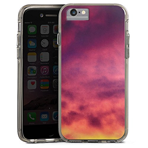 Apple iPhone 6 Plus Bumper Hülle Bumper Case Glitzer Hülle Lila Wolken Himmel Bumper Case transparent grau
