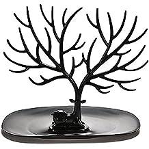 OULII Pulsera de soporte de collar / organizador de joyería / joyería de la cornamenta de los ciervos decorativo árbol árbol diseño (negro)