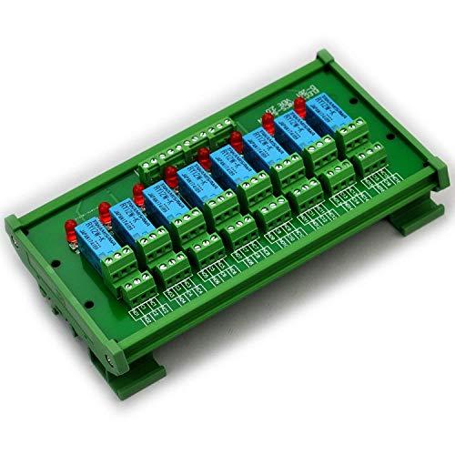 Electronics-Salon Montage sur rail DIN 8 Module d'interface de relais de signaux DPDT, version DC12V.
