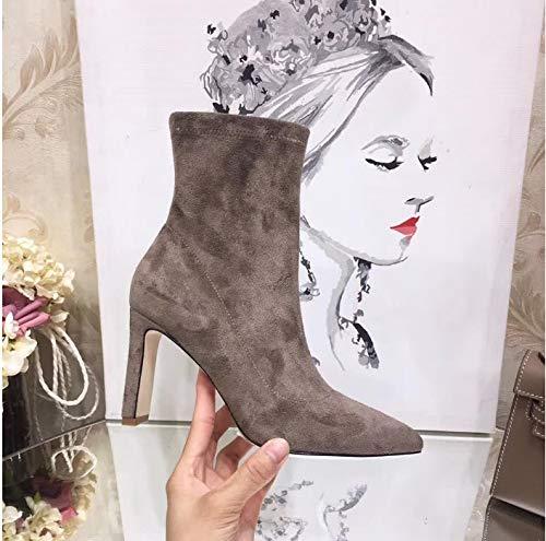 Top Shishang Herbst Winter Frauen Elastizität Vintage Scrub wies hochhackigen Martin Stiefel Chelsea Stiefel und Stiefeletten Western Ankle Boots,braun,39 Western Wellington Boot