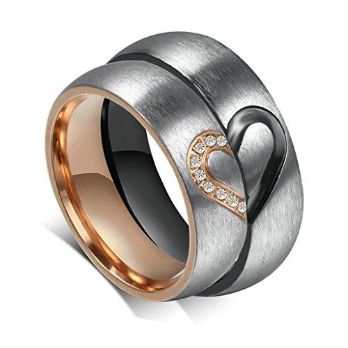 Aooaz Schmuck Damen Ring,Rose Gold Halb Herz CZ Zirkonia Edelstahl Ehering Verlobungsringe für Damen Größe 49(15.6)