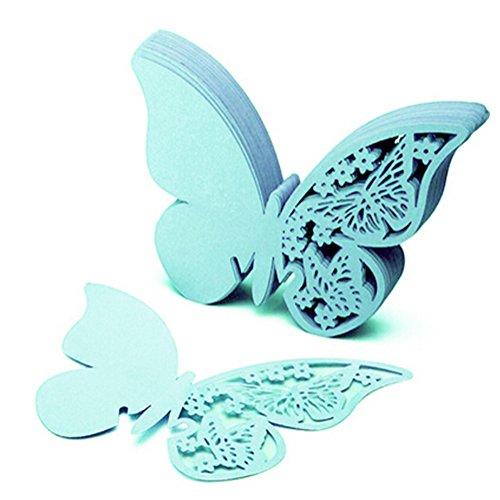 chmetterling Tischkarte Pearlized Cardstock Papier Material Hochzeit NamenKarten Hohle Butterfly Cup Karte für Hochzeit Geburtstag Party Wein Glas Deko ca.10 * 8.0cm, Blau ()