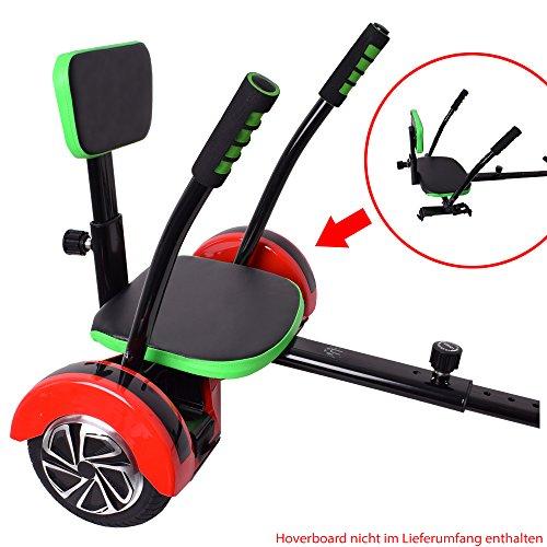 TE-Trend Hoverboard Scooter Asiento Accesorio Fun Kart para dos Rad Tablas ajustable en negro con verde Acolchado
