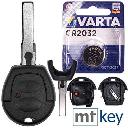 VW Autoschlüssel Funk Fernbedienung Austausch Gehäuse mit 2 Tasten + HAA / HU66 Rohling + Batterie für VW Lupo Fox Sharan T4 Seat Arosa Ibiza Leon Alhambra
