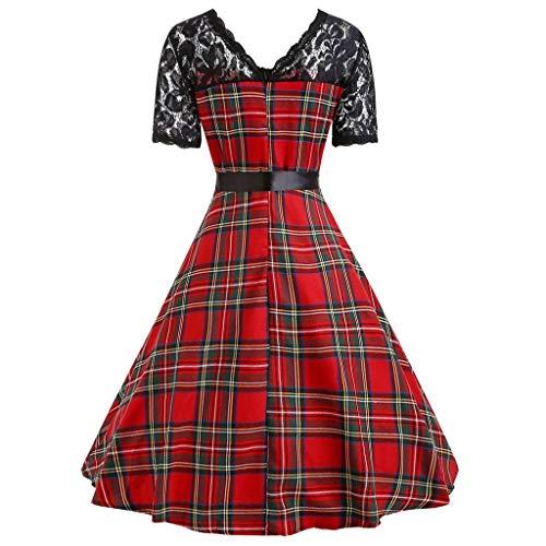 JUSTSELL ▾ Frauen Palastwind Lässiger Elegant Rundhals Kurzarm Hohl Spitze Nähen Gitter Petticoat Faltenrock Spitzenkleider Lang