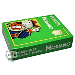 Cartes Modiano - Cartes 100% plastique - Cartes 100% plastique Modiano Poker Jumbo Vert Clair