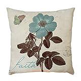 wuayi Kissenbezüge mit Blumenmuster, quadratisch, dekorativ, Leinen, für Zuhause oder Sofa, Baumwoll-Leinen, D, 45 x 45 cm