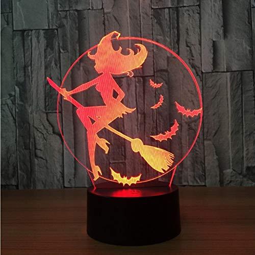pen 7 Farben Halloween Fledermaus Hexe Lampe Acryl Ändern Nachtlicht Schlafzimmer Lampe Wohnzimmer Lichter Dekoration Touch Usb ()