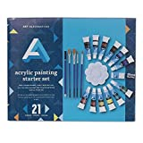 Art Alternatives Acrylic Painting Starter Set, Contains 12 paint colors, brushes, and accessories (AAAS0002)