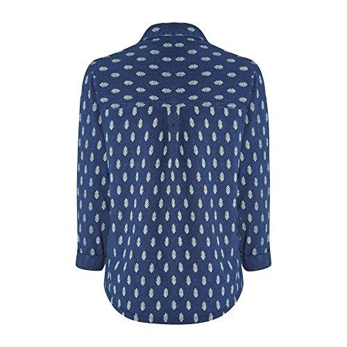 White Stuff Tessa Druck Jersey-Damen-shirt Dp Dusk Blue