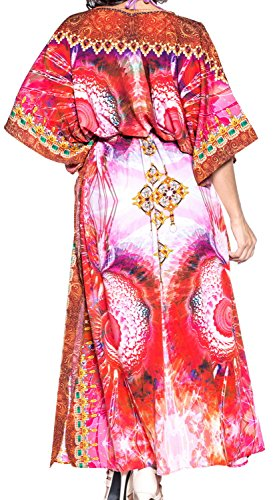 LA LEELA Damen Überdimensional Maxi Kimono Kaftan Tunika Kaftan Damen Top Freie Größe StrandKleider In 11 verschiedenen Farben Amaranth Rot
