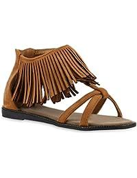 Gnaixeh Damen Wildleder Quasten Tanga Flache Sandalen Flip Flops Fransen Schuhe