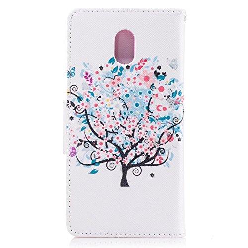 LEMORRY Nokia 3 Hülle Tasche Ledertasche Flip Beutel Haut Slim Bumper Schutz Magnetisch Soft SchutzHülle Weich Silikon Cover Handhülle Schale für Nokia 3, Kunstbaum - 6