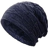 Compagno Gorro de invierno tipo slouch beanie de punto cesta con suave interior de forro polar, Color:Azul marino moteado