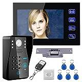 mountainone toque clave 7LCD RFID contraseña sistema de intercomunicación video Puerta Teléfono con cámara IR no-electric huelga cerradura de la puer