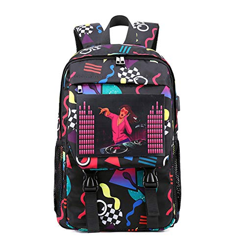 (Znds Unisex School Backpack, Voice-aktivierte Luminous Teenagers Canvas Double Shoulder Bag, USB Charging Harajuku Laptops Rucksack für Girls & Boys & Kids,Backpack1)