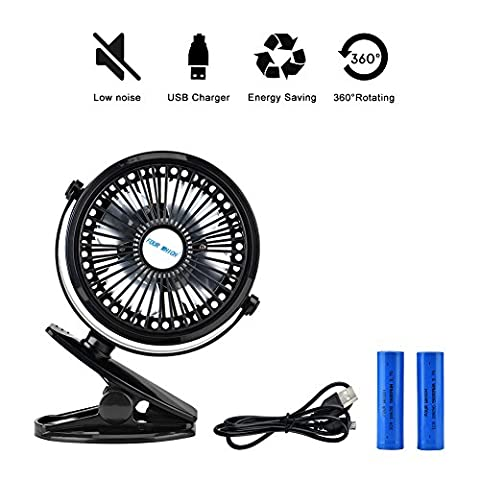 USB Ventilator, Towinle Leise Ventilatoren Mini Fan Clip Ventilator Tragbarer Reise Gadgets
