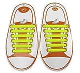 No Tie Shoelaces Schnürsenkel für Kinder Wasserdichte Silikon flache elastische Sportlauf für Sneaker Stiefel Brettschuhe und Freizeitschuhe Gelb