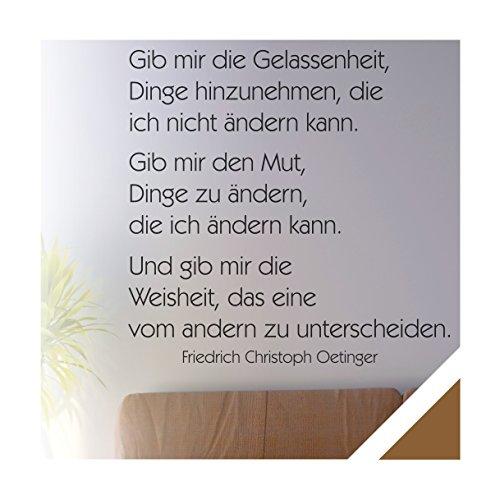 Exklusivpro Wandtattoo Wand-Spruch Gib mir die Gelassenheit. inkl. Rakel (zit32 kupfer) 80 x 71cm mit Farb- u. Größenauswahl