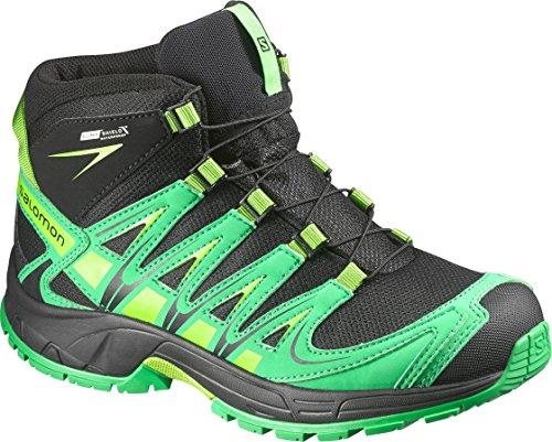 Salomon Unisex-Kinder Xa Pro 3d Mid Trekking-& Wanderstiefel black/real green/granny green