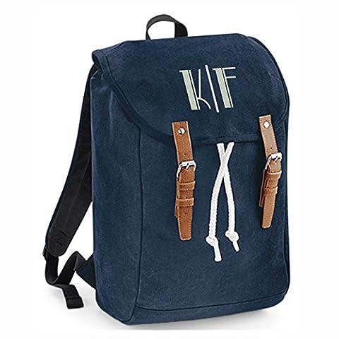 Rucksack mit Monogramm und eigenen Initialien oder Name (Steffi Navyblau)