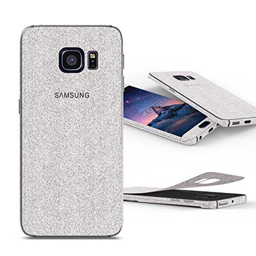 Urcover Glitzer-Folie zum Aufkleben | Samsung Galaxy S5 Mini | Folie in Silber | Zubehör Glitzerhülle Handyskin Diamond Funkeln Schutzfolie Handy-schutz Luxus Bling Glamourös