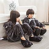 ABYED Adulte Unisexe Anime Animal Costume Cosplay Combinaison Pyjama Outfit Nuit Vêtements Onesie Fleece Halloween Costume Soirée de Déguisement,Loup Chidren Taille 125 -pour Taille: 138-148cm