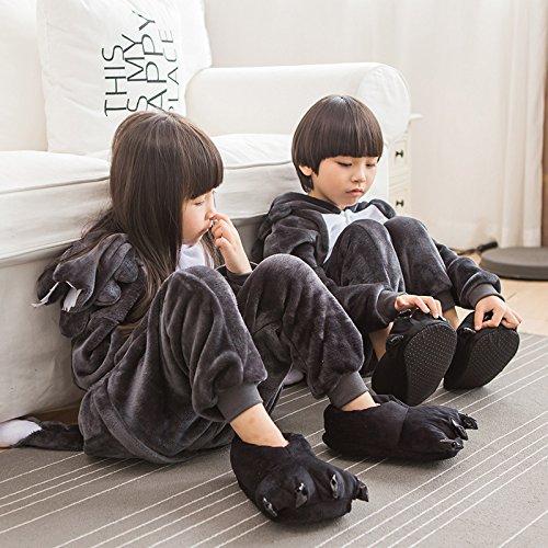 ABYED® Jumpsuit Tier Karton Fasching Halloween Kostüm Sleepsuit Cosplay Fleece-Overall Pyjama Schlafanzug Erwachsene Unisex Lounge,Chidren Größe 95 - für Höhe: 103-115cm (Halloween Kostüm Junge Wolf)