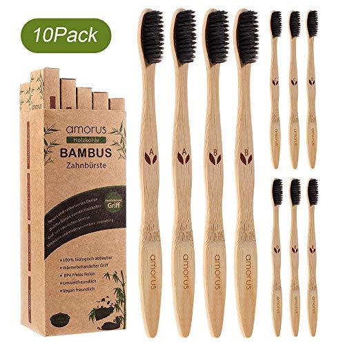 Lot de 10 Brosses à Dents en Bambou Biodégradable avec des Poils Doux Ergonomique et Vegan en Fibre de Charbon Végétal