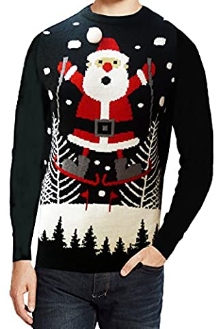 Seasons Greeting Light Up Christmas Jumper - Skiing Snowman - Black - XX Large 46