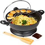 Andrew James 1400 Watt Portable Non-Stick Electric Wok With 2 Year Warranty - Includes Lid, Tempura Rack and Spatula