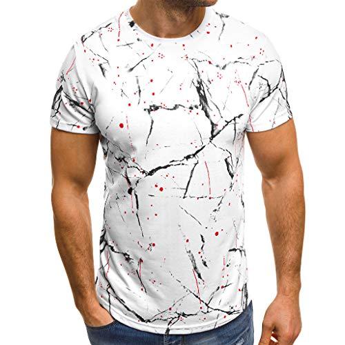 FeiBeauty Sommer T-Shirt-Herrne beiläufige Art- und Weisedrucken-elastisches Kurzarm- der Männer übersteigt Bluse Turnhalle Slim Fit Elastizität Sport oben -