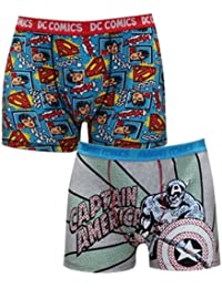 BIG & TALL (Pack of 2) hommes SUPERMAN & CAPTAIN AMERICA confortable Fit Shorts Boxer