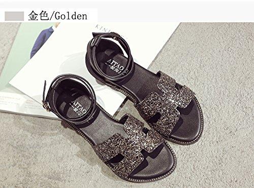XY&GKBig Size Damen Sommer Sandalen Füße Fett Fuß breit Füße Große Werften für Frauen Sandalen mit flachem Boden, komfortabel und schön 35 gold