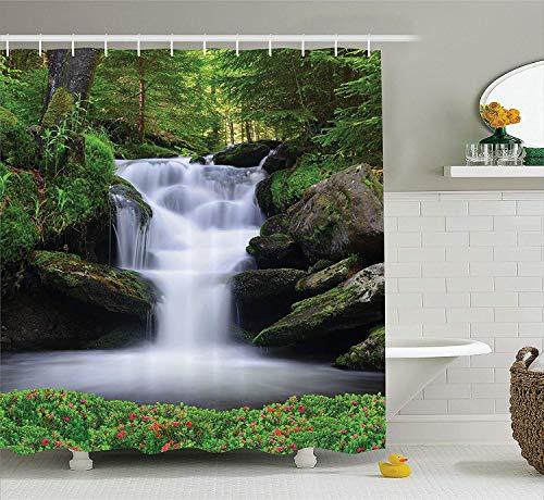 Wvtsucykyga natural waterfall decor set tenda da doccia dream come l'immagine di cascata con alberi e fiori in foresta madre natura accessori bagno 180cm extralong verde scuro