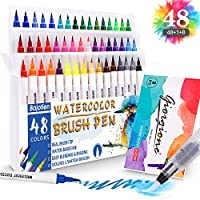 Bajotien 48 Colours Real Watercolour Brush Pens Set with 1 Water Brush Pen and 1 Watercolor Pad for Colouring Books, Calligraphy, Drawing and Writing