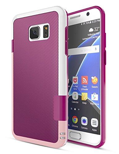 Funda Galaxy S7 [Ultra Hybrid] HanLuckyStars Funda Carcasa Case TPU Matte Shell Exact Bumper Tope Shock Protección Gota Anti-Arañazos , Choque Absorción Borrar Espalda para Samsung Galaxy S7 (Rosa)
