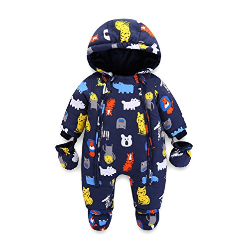Vine bambino tute da neve neonato hooded pagliaccetti body overalls (12-18 mesi)