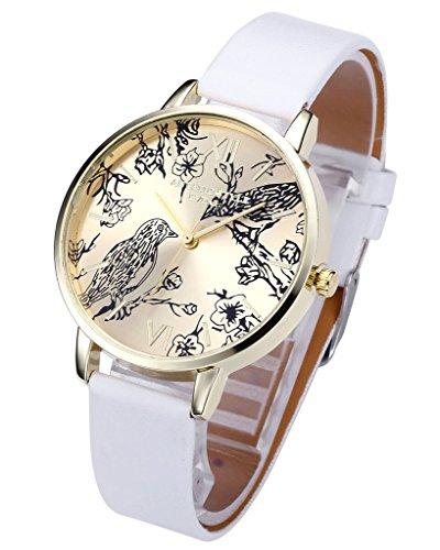 JSDDE Vintage Blumen Vogel Armbanduhr Basel-Stil Weiß Quarz Uhr + Traumfänger Anhänger Armband Halskette Geschenk Set - 2