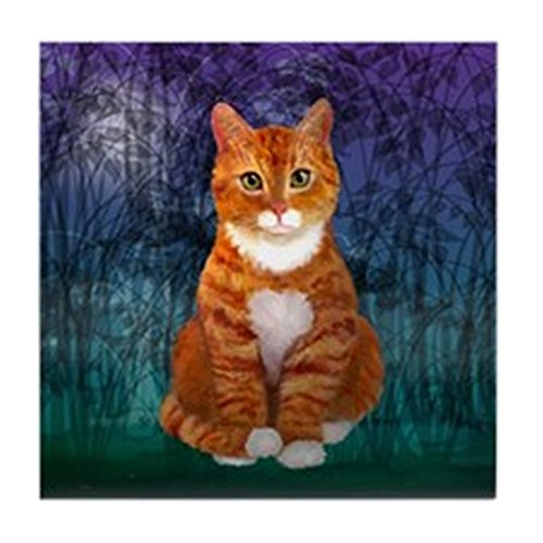CafePress–Grün Eyed orange, Design Getigerte Katze–Tile Untersetzer, Drink Untersetzer, Untersetzer, Klein (Eyed Green Katze)