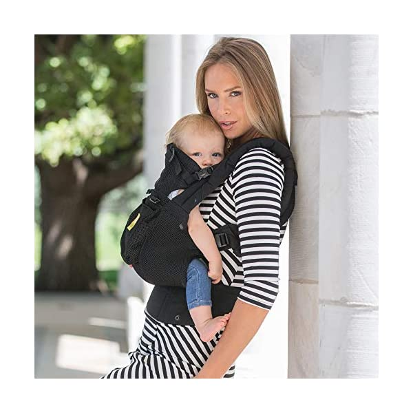 LÍLLÉbaby  Complete Airflow 6-in-1 Baby Carrier, Black Lillebaby Made from breathable mesh fabric to help keep parent and child cool and comfortable and with 6 carrying positions - Foetal, infant inward, outward, toddler inward, hip, back - The only carrier you'll ever need! Suitable from 3.2- 20kg (birth to approx. 4 years old), providing extended comfortable use for parent and child with no additional infant support required for new-borns - the ergonomic adjustable seat is acknowledged as 'hip-healthy' by the International Hip Dysplasia Institute Unique spacious head support with elasticated straps - soothes infants with gentle lulling motion and provides excellent support as children grow 8