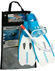 Aquazon Schnorchelset Flipper, Flossen, Schnorchelbrille, Schnorchel incl. Netbag, Blau, Pink, Orange,Kinder, Damen
