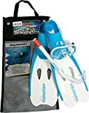 Aquazon Schnorchelset Flipper, Flossen, Schnorchelbrille, Schnorchel incl. Netbag, Blau-Weiss, 34-35,Kinder, Damen