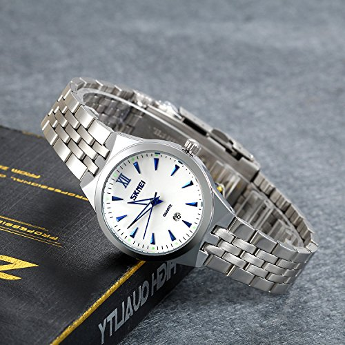 Lancardo ein paar Damen Herren Freundschafts Armbanduhr, Edelstahl Klassisch Quarzuhr Elegant Paar Partneruhren Uhr, Modisch blau römische Ziffern Zifferblatt, silber