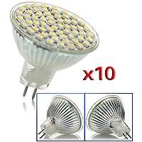 SODIAL(R) 10 X MR16 GU5.3 Dia 220V bulbo ahorro blanco 60 LED SMD 4W Energia Luz Lampara