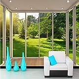 lsweia Wandbild Tapete 3D Stereoskopischen Raum Europäischen Balkon Wald Rasen Landschaft Vlies Wohnzimmer Hintergrundbild