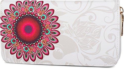 stylebreaker-portefeuille-a-motifs-de-fleurs-ethniques-dessin-vintage-fermeture-a-glissiere-toute-au